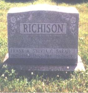 Frank Albert Richison and Sarah Jane Davis gravestone