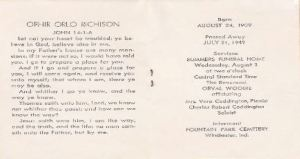 Ophir Richison funeral card