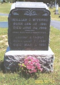 William Wysong and Carmie Nicholson gravestone