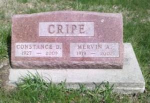 Constance and Mervin Cripe gravestone